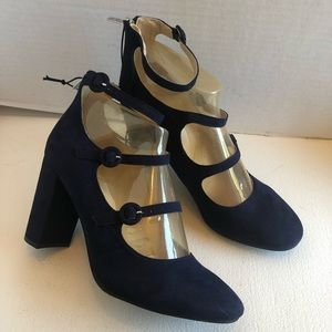 Marc Fisher blue suede 3 buckle Mary Jane shoes
